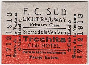 Ticket o Pasaje de la Trochita de Sierra de la Ventana