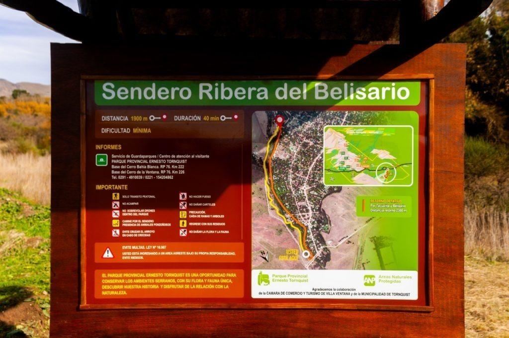 Sendero Ribera del Belisario en Villa Ventana