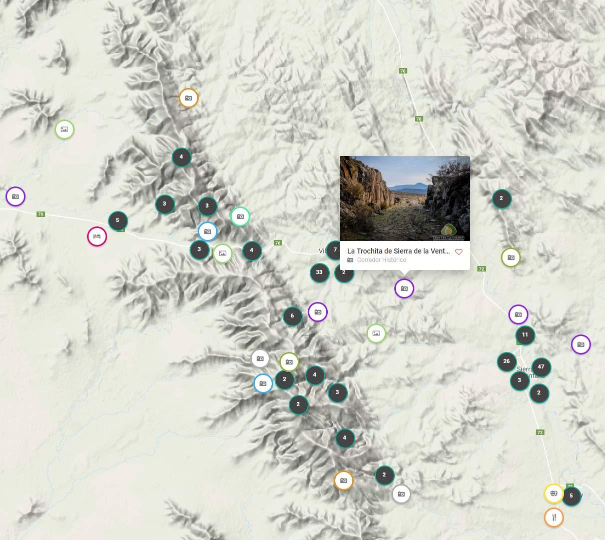Mapa de Sierra de la Ventana